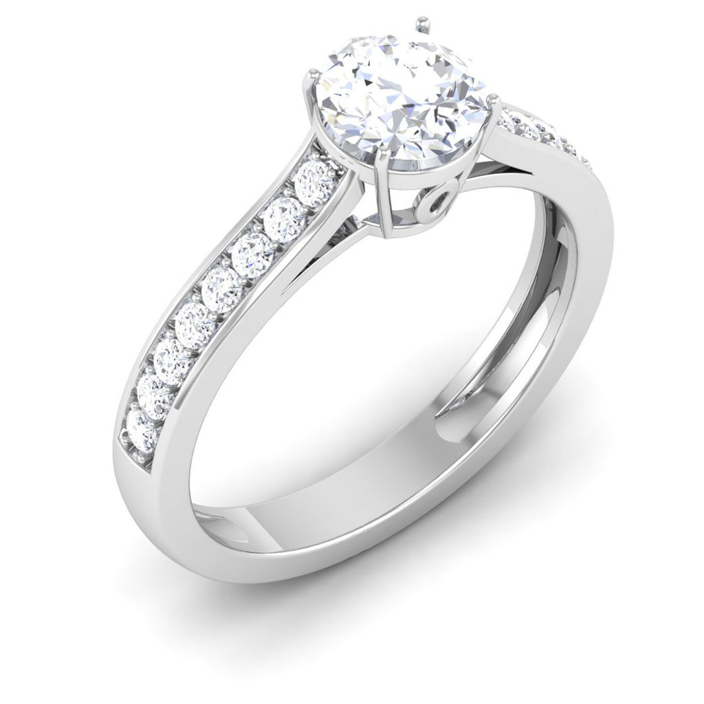 Solitaire Diamond Platinum: Platinum Solitaire Engagement Ring With Diamond Shank For