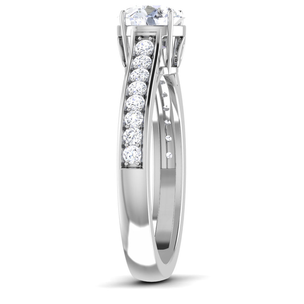 Platinum Solitaire Setting With Diamond Shank For Women JL PT 512 M