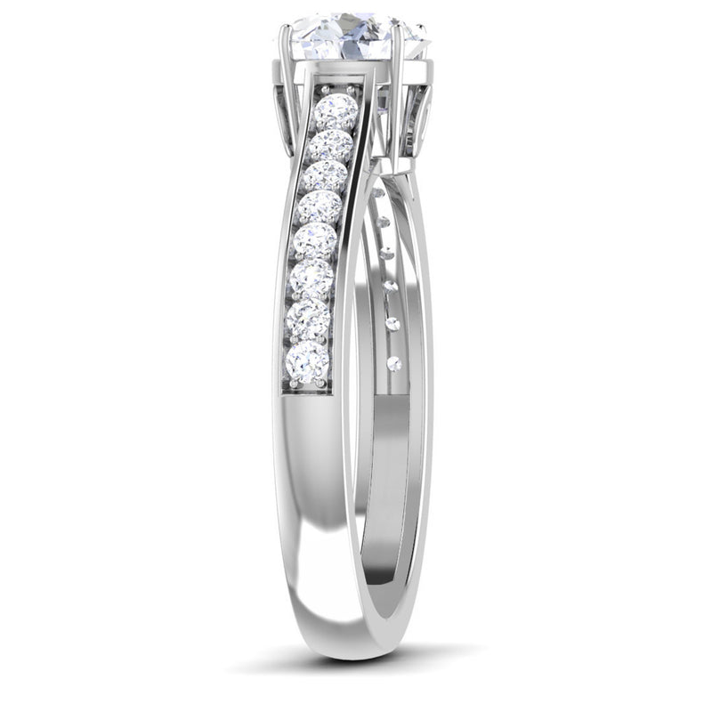Platinum Solitaire Engagement Ring with Diamond Shank for Women JL PT 512