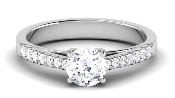 Platinum Diamond Solitaire Ring Mounting with Diamond Shank JL PT 485-M