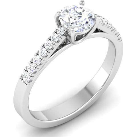 Platinum Diamond Solitaire Mounting with Diamond Shank JL PT 485-M
