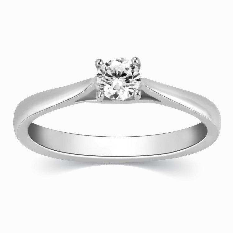 30 Pointer Platinum Solitaire Cathedral Ring for Women JL PT 330-A