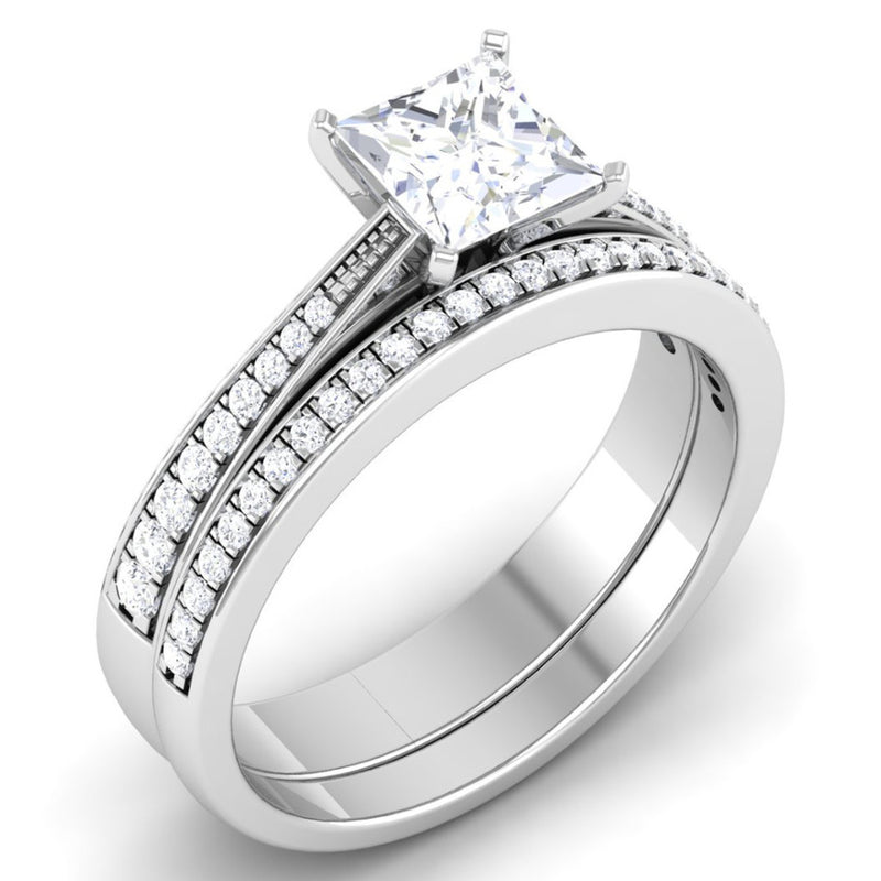 Solitaire Mounting in Platinum with Diamond Studded Shank JL PT 487-M