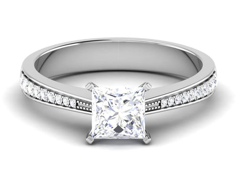 Princess Cut Solitaire Engagement Ring in Platinum with Diamond Studded Shank JL PT 487