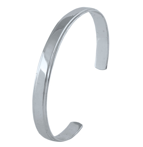 Perspective View of Punjabi Open Platinum Kada with Raised Center for Men JL PTB 817