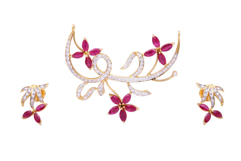 Ruby Diamond 18K Gold Floral Mangalsutra Half Necklace Set with Earrings JL AU 126