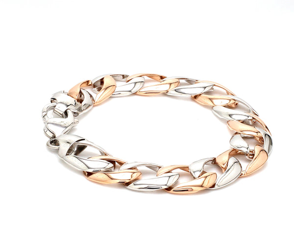 Classic Platinum & Rose Gold Bracelet for Men JL PTB 751