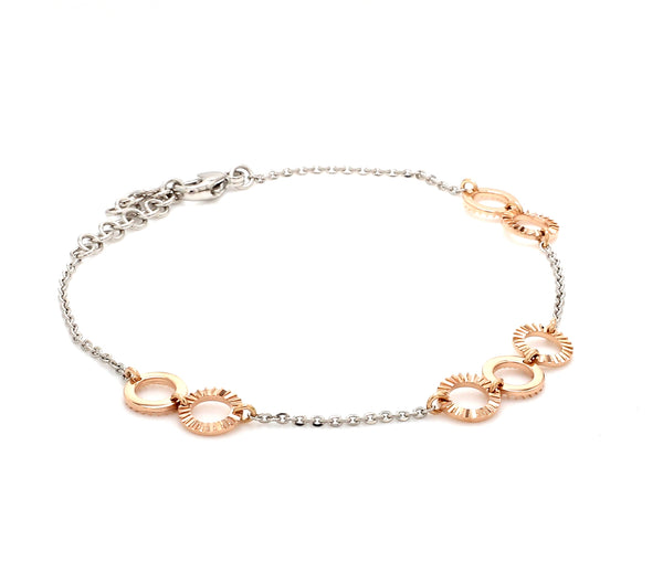 Lightweight Platinum + Rose Gold Bracelet for Women JL PTB 764