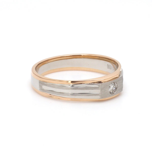 Ready to Ship - Ring Size 22, Platinum & Rose Gold Fusion Single Diamond Ring for Men JL PT 997