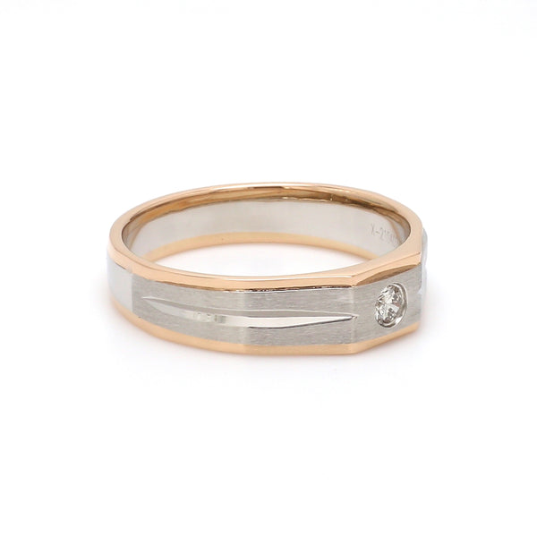 Ready to Ship - Ring Size 21, Platinum & Rose Gold Fusion Single Diamond Ring for Men JL PT 995