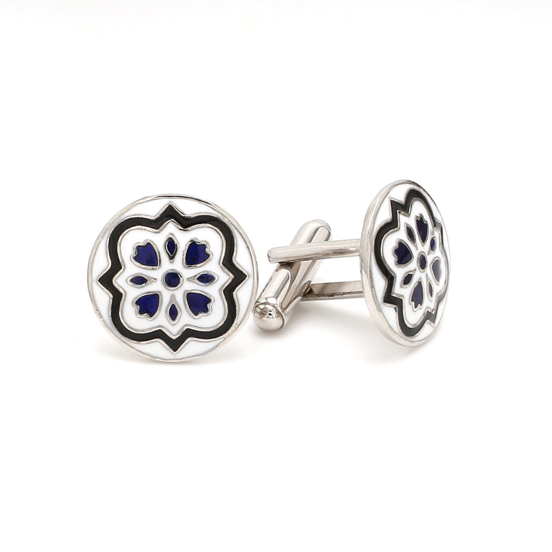 Side 2 View of 925 Silver Cufflinks for Men with Black & Blue Enamel JL AGC 7