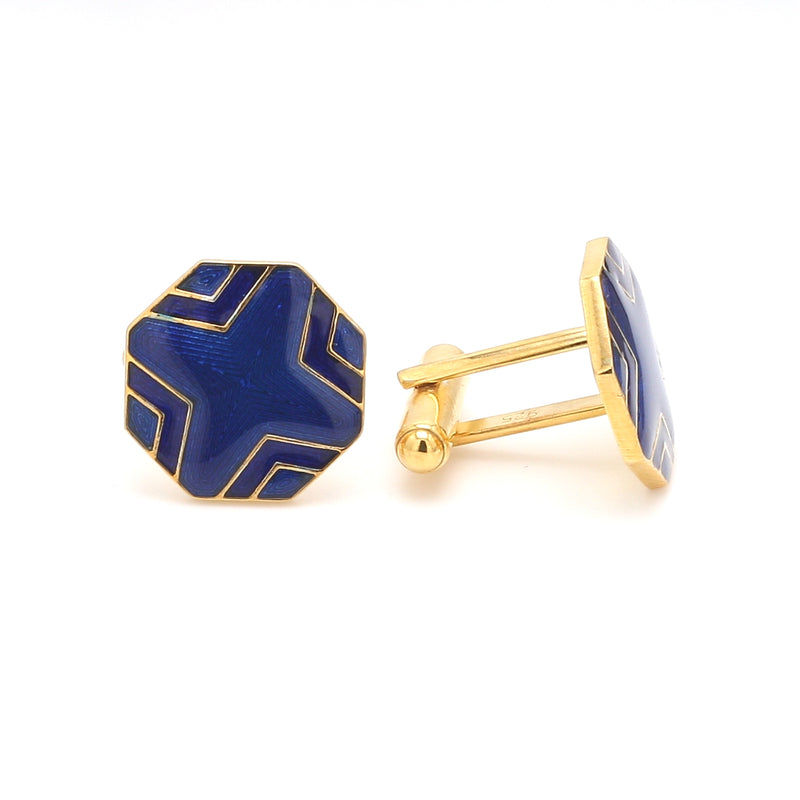 Side 2 View of 925 Silver Cufflinks for Men with Blue Enamel JL AGC 6