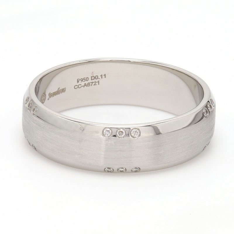 Side Matte Finish Platinum Ring for Men with Tiny Diamonds SJ PTO 295