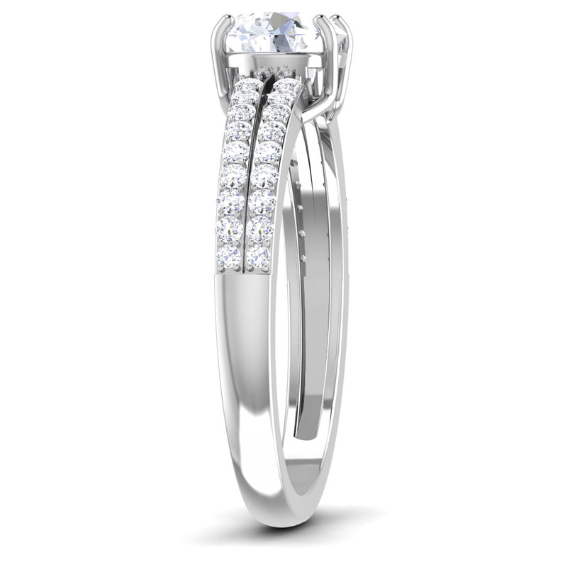 Side View of 30 Pointer Platinum Double Shank Diamond Solitaire Engagement Ring JL PT 7002