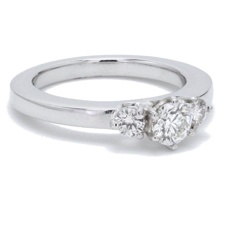 Side View of 3 Diamond Platinum Engagement Solitaire Ring JL PT 326 for Women