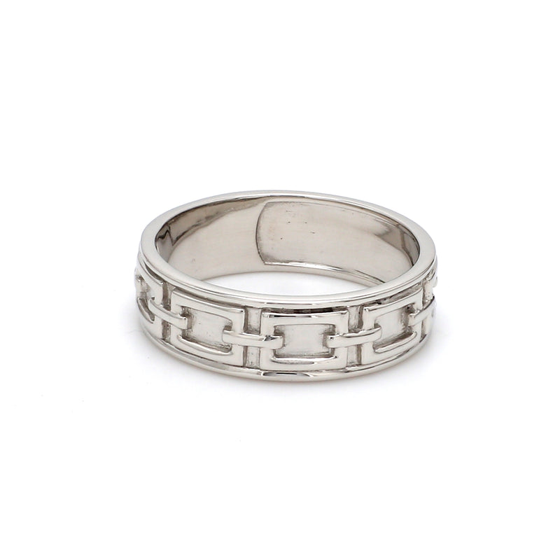 Side View of Men's Plain Platinum Wedding Band SJ PTO 230