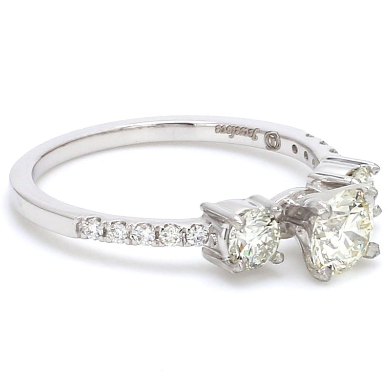Platinum Solitaire Engagement Ring with Diamond Accents JL PT 584
