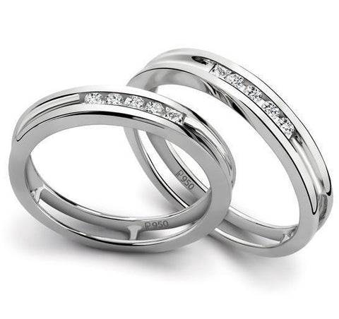Platinum Love Bands with Channel Set Diamonds SJ PTO 139 - Suranas Jewelove