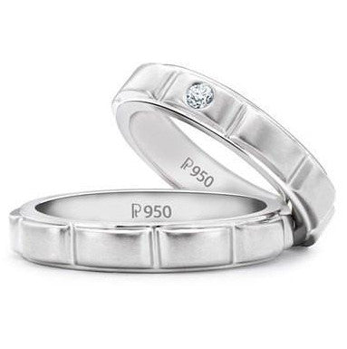 Designer Platinum Love Bands with Single Diamonds SJ PTO 151