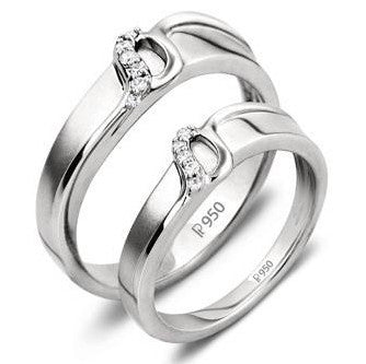 Thin Platinum Love Bands with Tiny Diamonds SJ PTO 221 - Suranas Jewelove