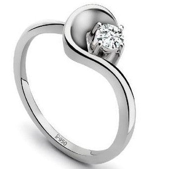 Curvy Platinum Solitaire Ring for Women JL PT 510