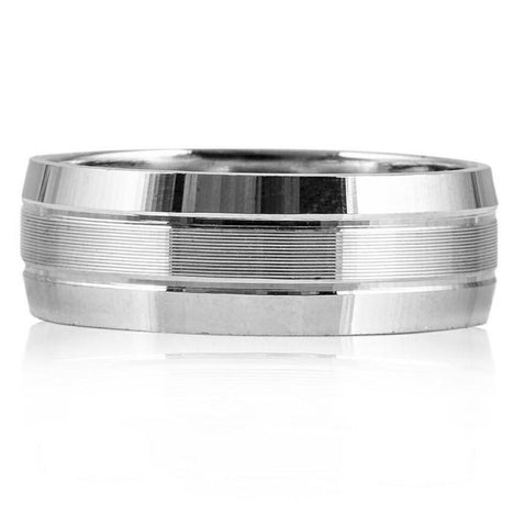 7mm Elegant Plain Platinum Ring for Men with Horizontal Lines JL PT 541
