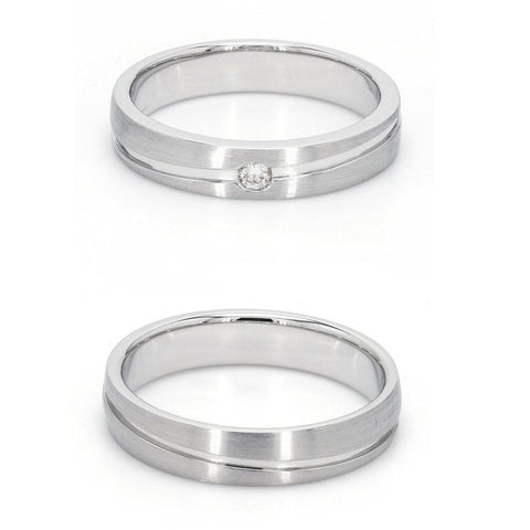 Simple Platinum Couple Rings with Curvilinear Groove JL PT 569