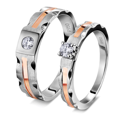 Platinum Couple Rings with Single Diamonds & Rose Gold Grooves JL PT 621