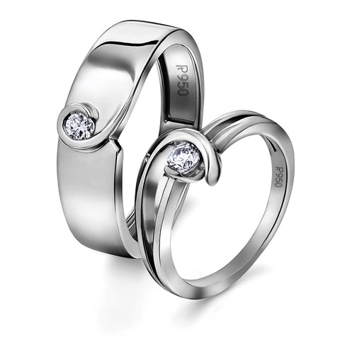 Single Diamond Platinum Love Bands - Twists & Turns of Life