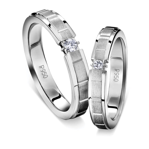 Single Diamond Platinum Love Bands with Satin Finish Grooved JL PT 612