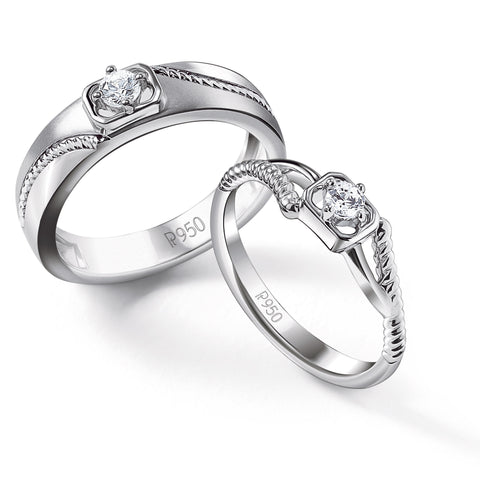 Single Diamond Rope Style Platinum Couple Rings JL PT 623