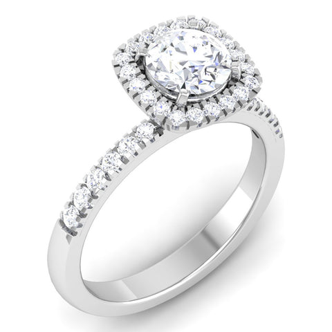 Single Halo Diamond Solitaire Platinum Ring with Diamonds on the Shank JL PT 497