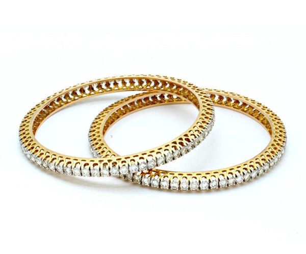 Single Line Diamond Bangles Pair for Women JL AU 102 - Suranas Jewelove