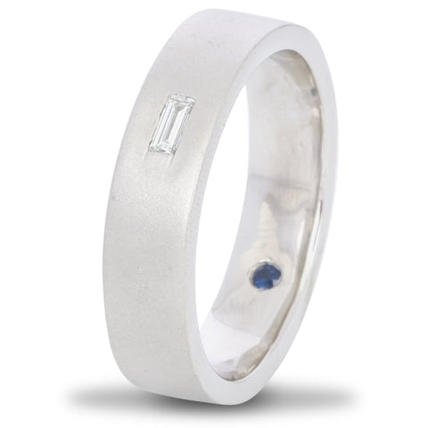 Customised Baguette Diamond Ring with a Secret Sapphire for Men JL PT 429-A
