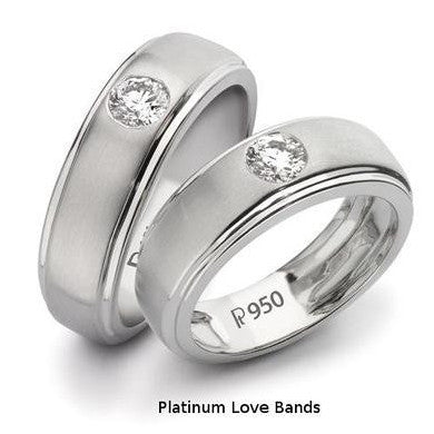Classic Platinum Solitaire Love Bands SJ PTO 101 in India