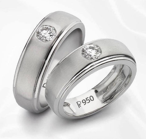 Super Sale - Platinum Solitaire Band SJ PTO 101-A Size 10.5