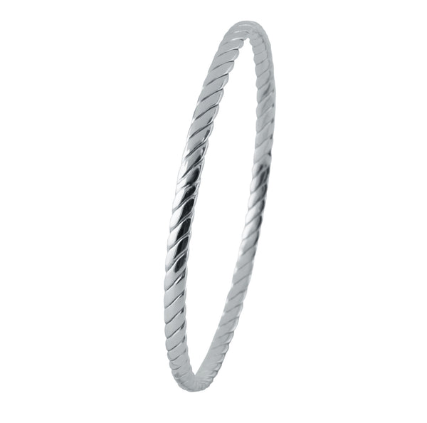 Uni-Sex Platinum Bangle with Inclined Lines JL PTB 818