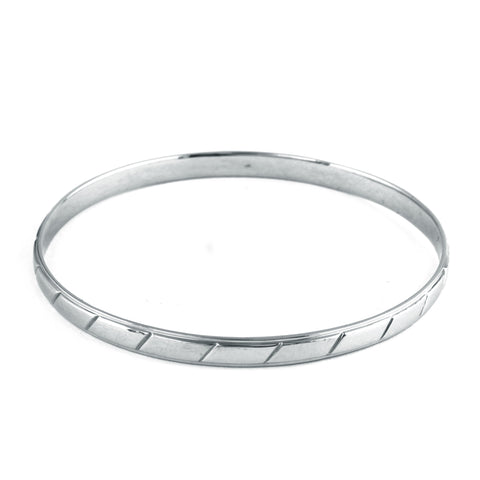 UniSex Platinum Bangle for Men & Women with Slanting Lines JL PTB 632