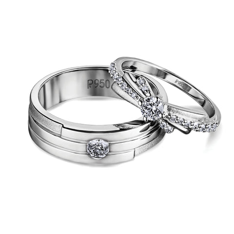 Union Platinum Love Bands JL PT 587. Platinum Rings for Couple with single diamond platinum ring for men & design solitaire platinum engagement ring for women. 18PTLBB 3-4-Revised