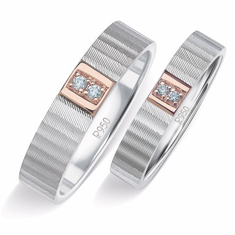 Unique Texture Platinum Love Bands with 2 Diamonds & a Touch of Rose Gold JL PT 914