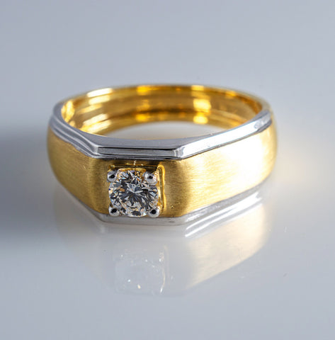 30 Pointer Diamond Solitaire Engagement Ring for Men in 18K Yellow Gold in India