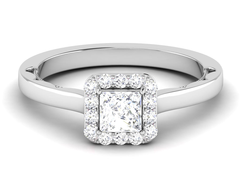 Side View of 50 Pointer Platinum Princes Cut Diamond Solitaire Engagement Ring JL PT 6592
