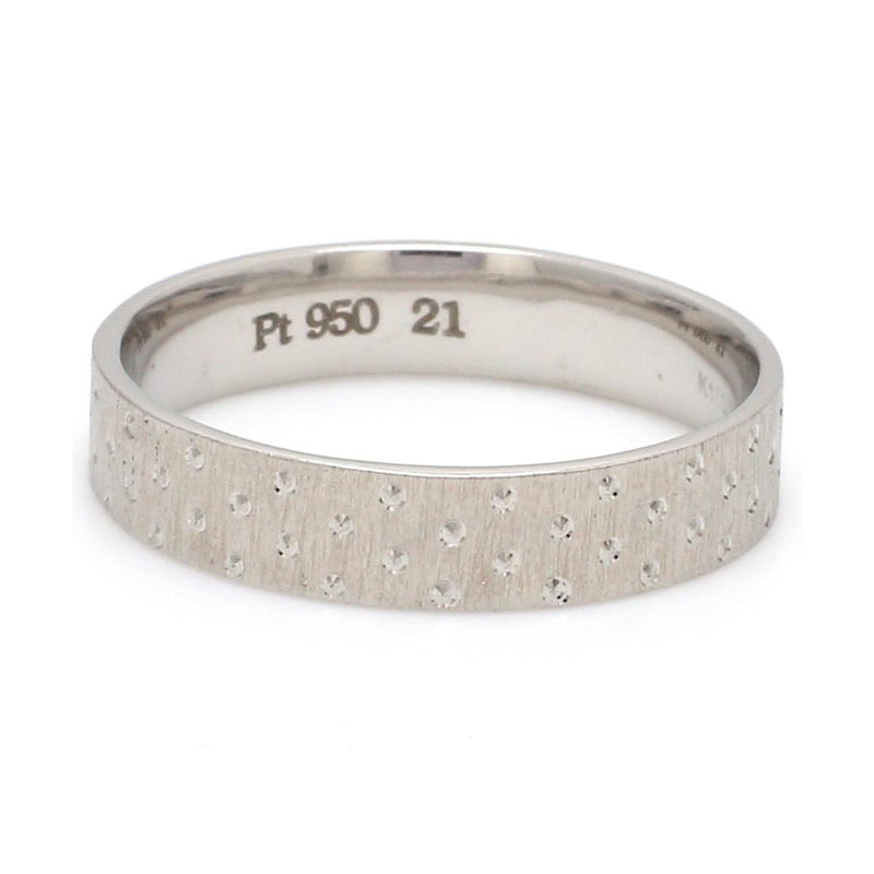 Front View of Japanese Platinum Love Bands with Dotted Texture for Men JL PT 923