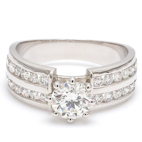 Designer 70-pointer Solitaire Ring with 2 Row Accent Diamonds