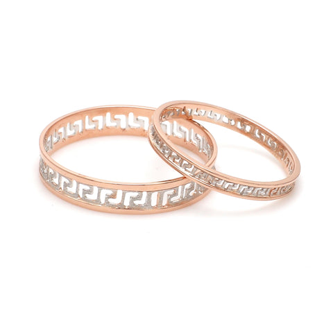 Carved Out Platinum Love Bands with Rose Gold Polish SJ PTO 135-RG