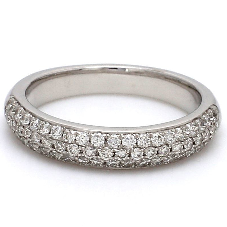 Front View of Designer Platinum Wedding Band with Diamonds for Women SJ PTO 317