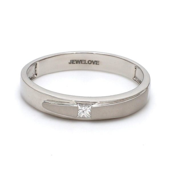 Front View of Conjoining Platinum Rings for Couples with Single Diamonds JL PT 599