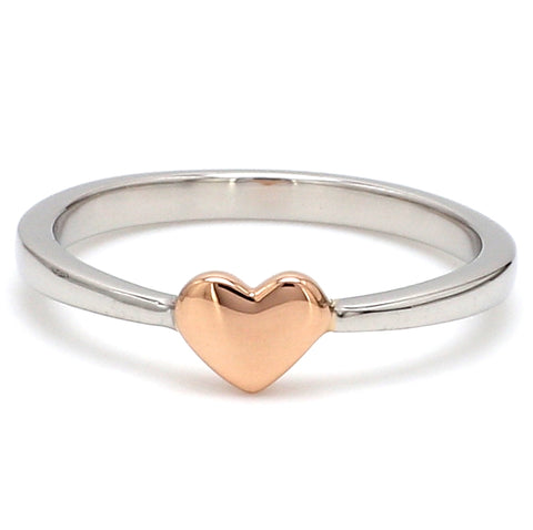 Front View of Tiny Heart Shape Platinum Rose Gold Fusion Ring for Women JL PT 628
