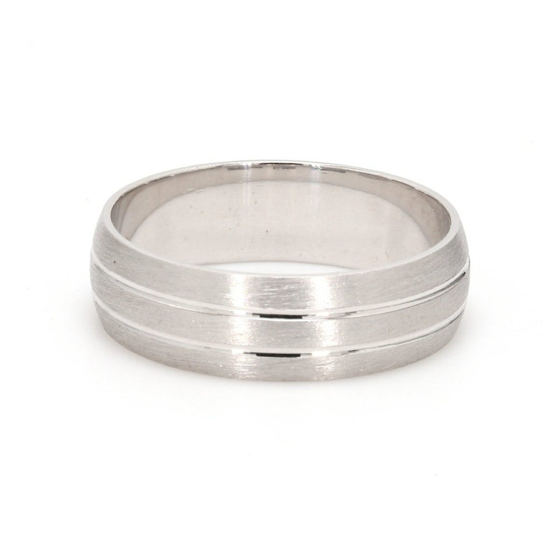 back view of Simple Platinum Ring for Him with 2 Line Grooves JL PT 568