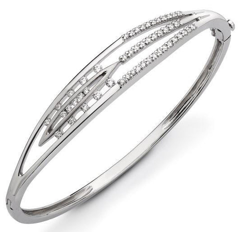 Designer Oval Platinum Bracelet with Diamonds SJ PTB 109 in India